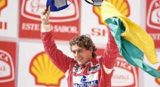 Senna with Brazilian flag