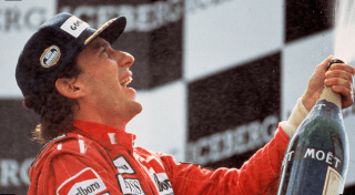 Senna with champagne